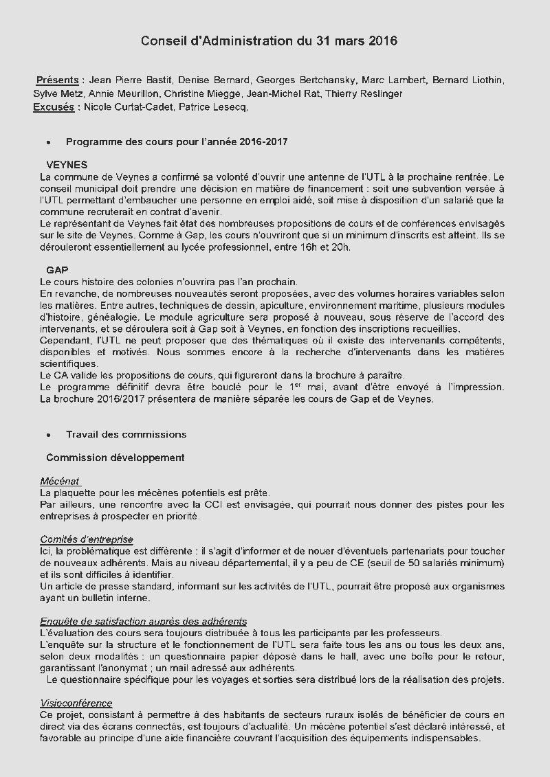 CONSEIL D ADMINISTRATION 31 MARS 2016 eb47904f5b80